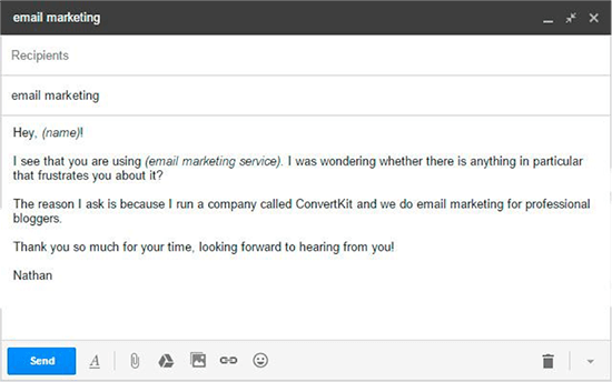 Sample template email that ConvertKit sends out