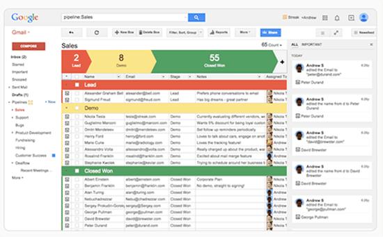 Screenshot of Streak used with Gmail