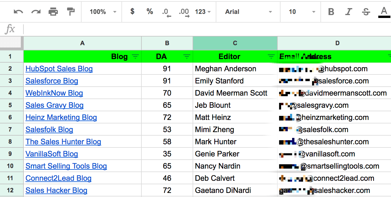 Spreadsheet showing blogs, domain authority, editors, and email addresses