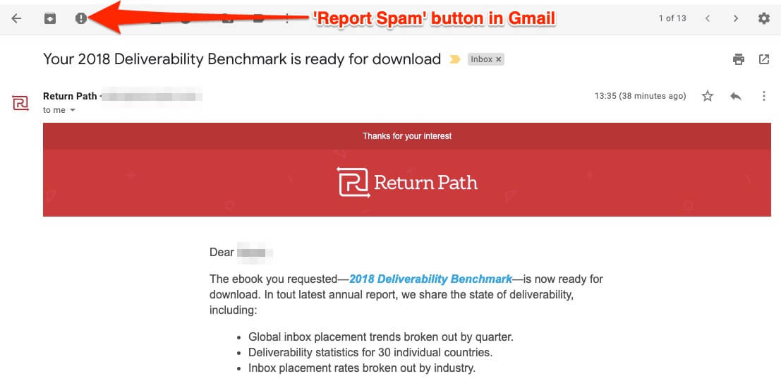 Report Spam button in Gmail
